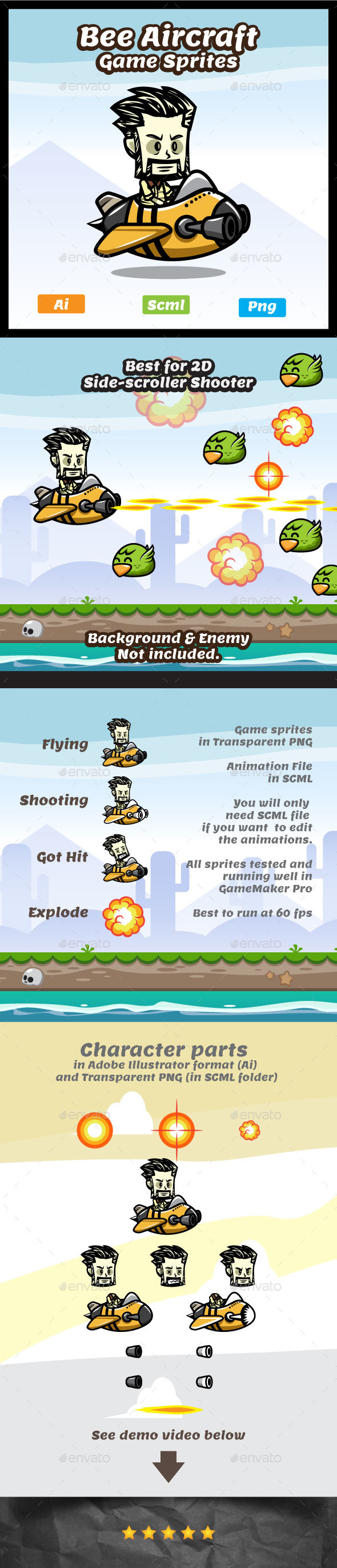 Male Pilot Game Character - Bee Aircraft Sprites - Sprites Game Assets