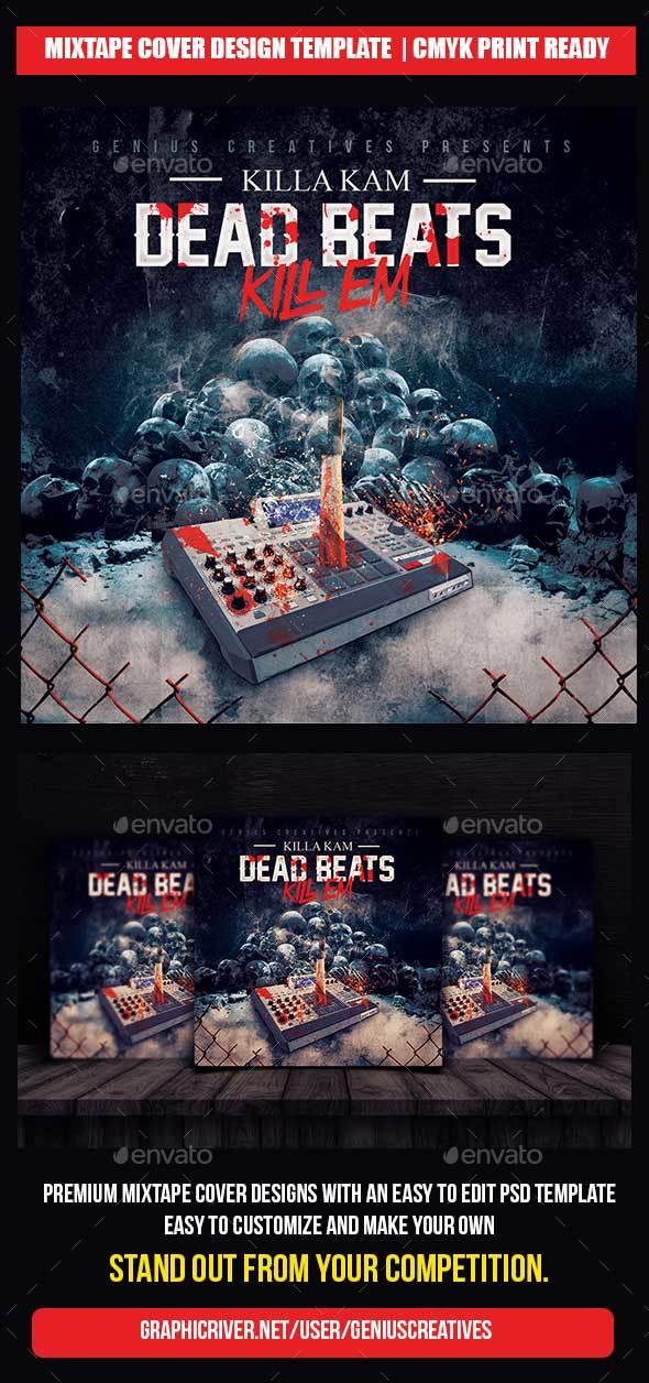 Dead Beat Mixtape Cover Template - CD & DVD Artwork Print Templates