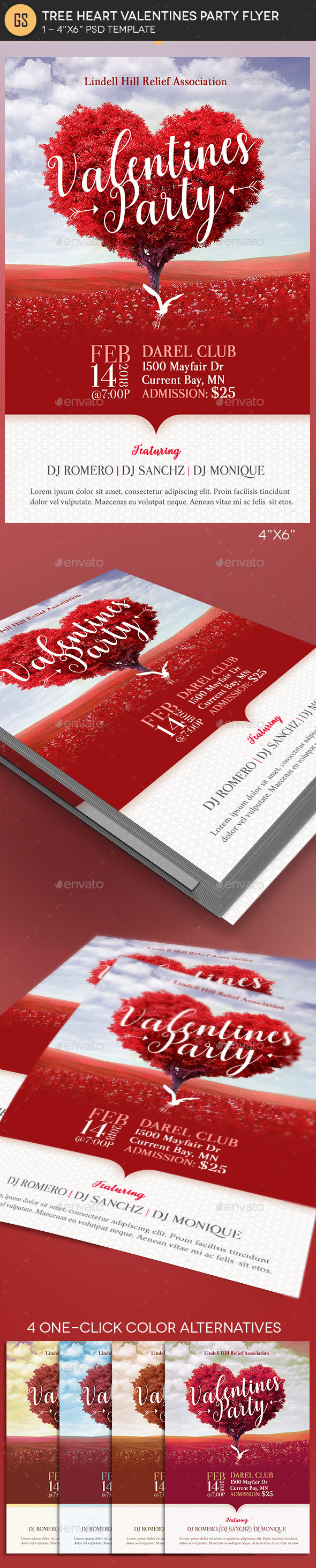 Tree Heart Valentines Party Flyer Template - Holidays Events