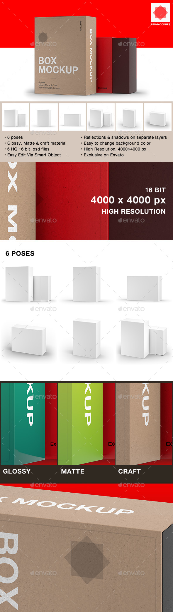6 Box Package Mockups - Packaging Product Mock-Ups