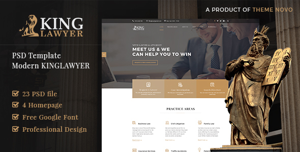 Kinglaw - Attorney & Lawyer PSD Template - Business Corporate