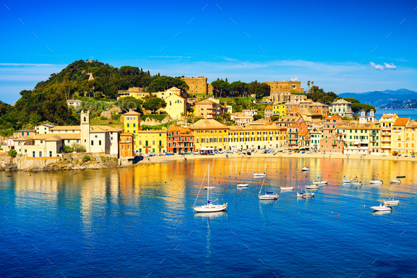 Sestri Levante, silence bay sea harbor and beach view. Liguria, - Stock Photo - Images