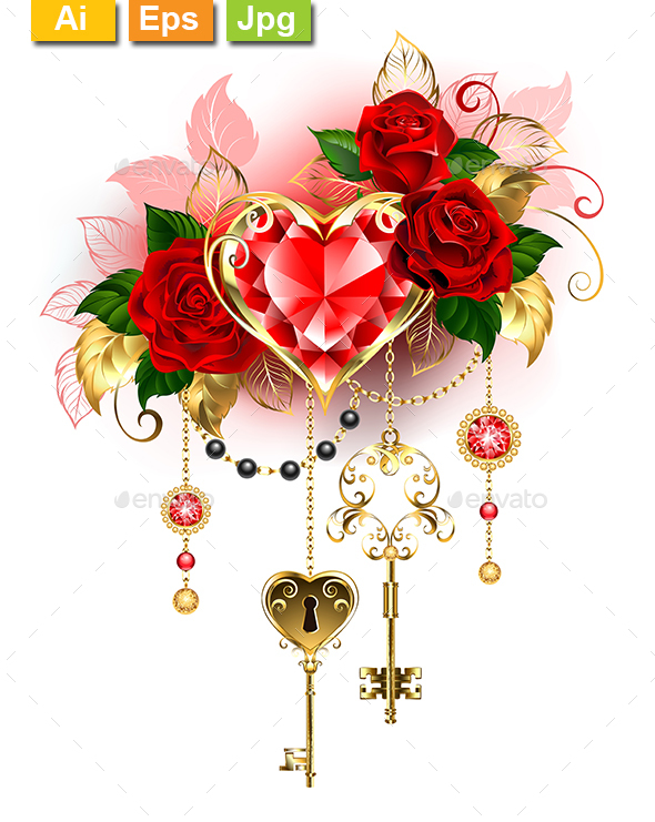 Ruby Heart with Roses - Decorative Symbols Decorative