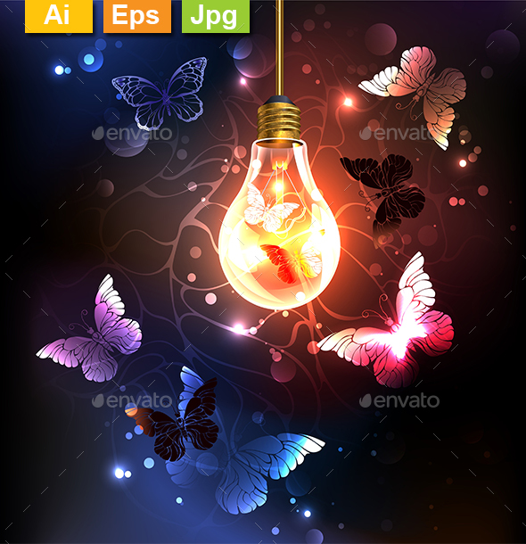 Bulb with Night Butterflies - Miscellaneous Vectors