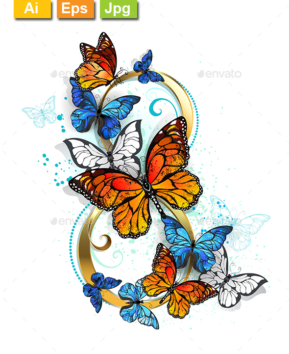 Eight of Monarch Butterflies - Decorative Symbols Decorative