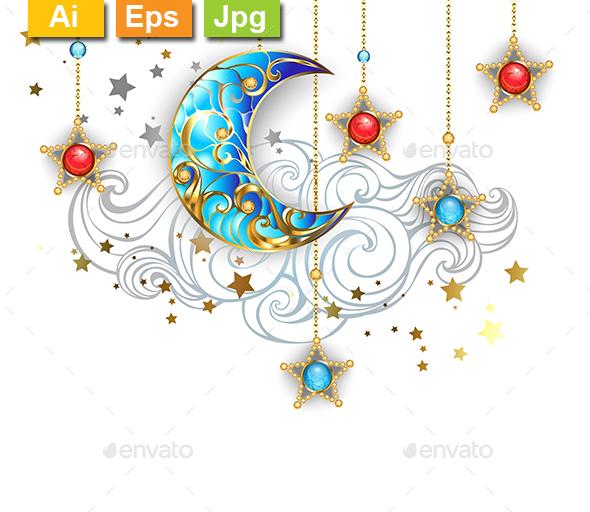 Golden Crescent Moon - Decorative Vectors