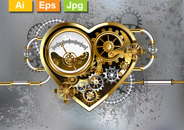 Steampunk Heart with Manometer - Decorative Symbols Decorative
