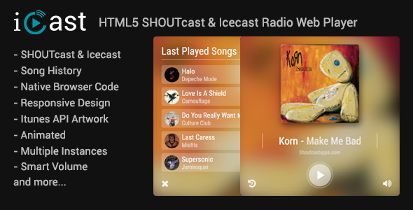 iCast - HTML5 Shoutcast & Icecast Radio Web Player - CodeCanyon Item for Sale