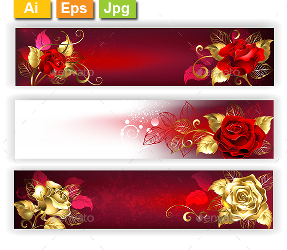 Horizontal Banners with Jewelry Roses - Valentines Seasons/Holidays