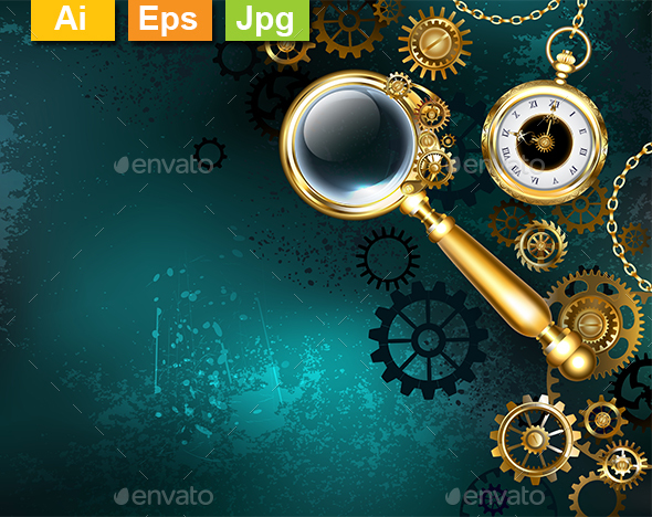 Magnifier in Steampunk Style - Backgrounds Decorative