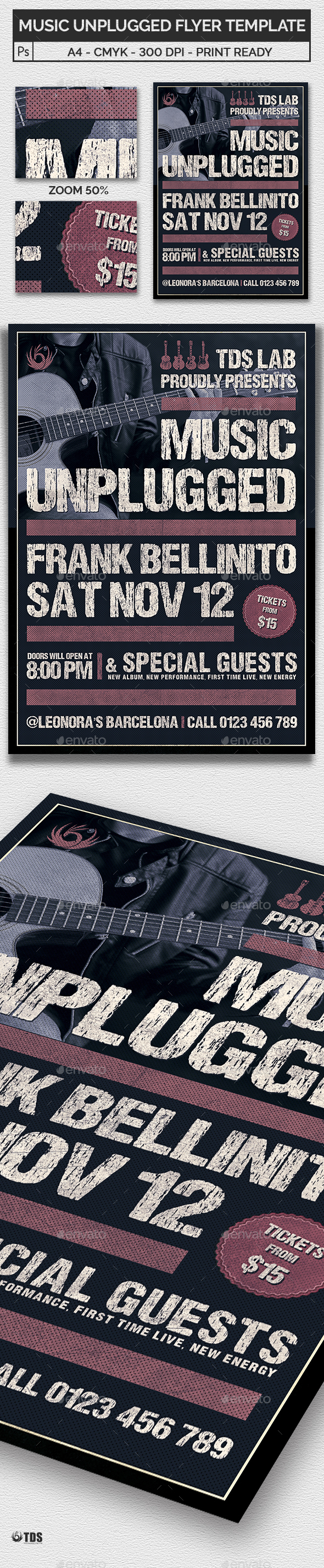 Music Unplugged Flyer Template - Concerts Events