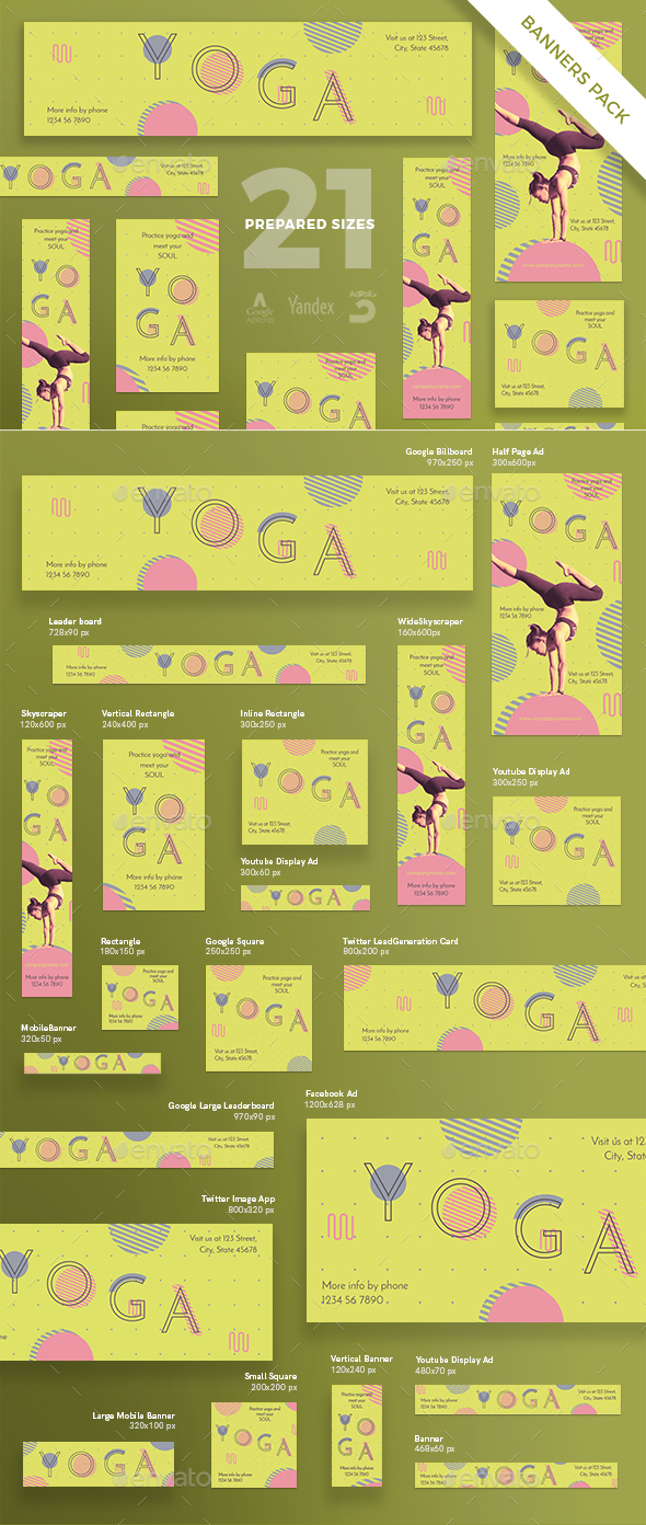 Yoga Banner Pack - Banners & Ads Web Elements