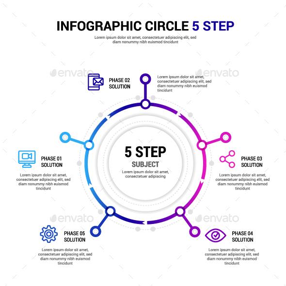 Circle 5 step Infographic - Infographics