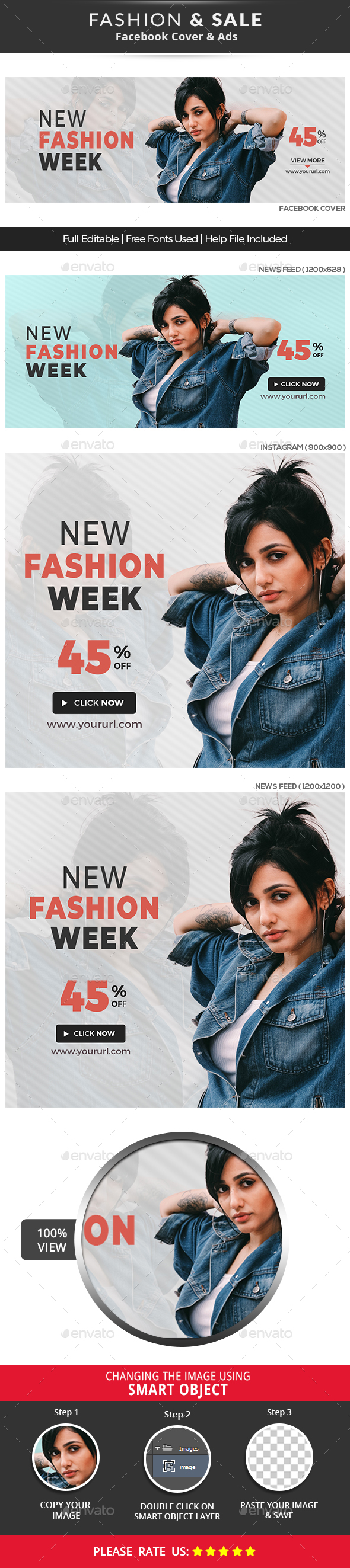 Fashion Sale Fb Cover & Ads - Social Media Web Elements