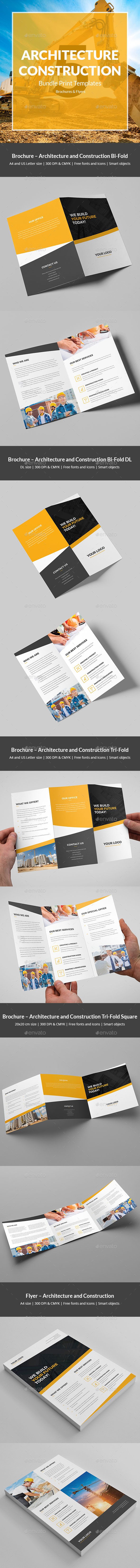 Architecture and Construction – Bundle Print Templates 5 in 1 - Corporate Brochures