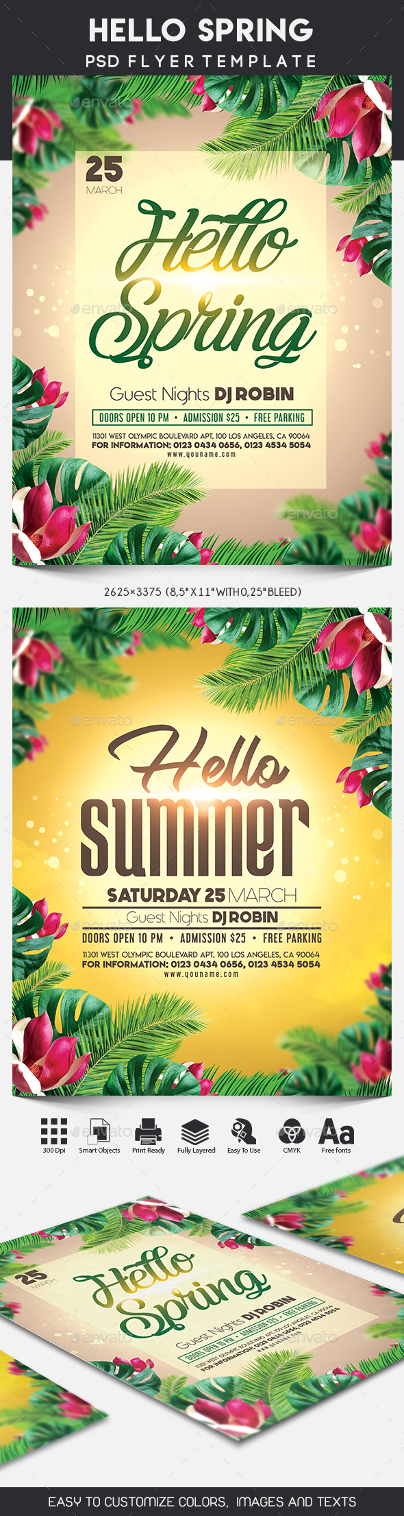 Hello Spring / Hello Summer Flyer Template - Clubs & Parties Events