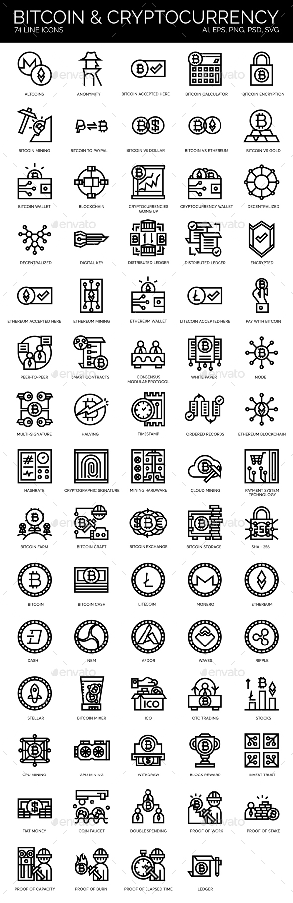 Blockchain, Cryptocurrency, Bitcoin Icons - Technology Icons