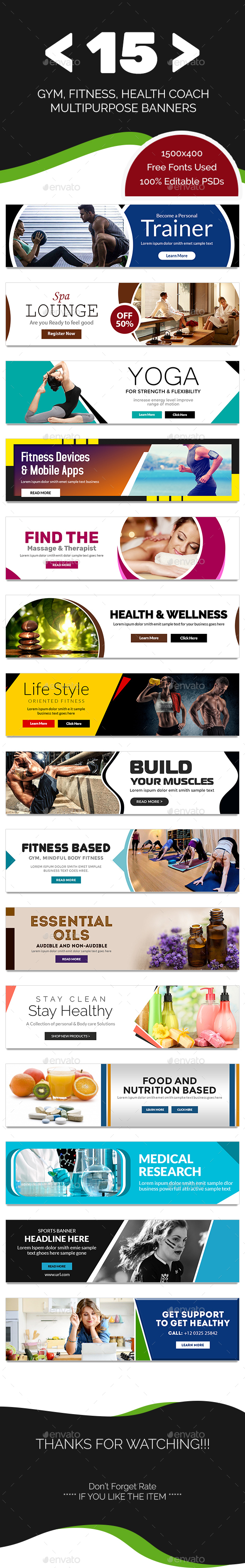 Gym and Fitness Multipurpose Banners - 15 Designs - Banners & Ads Web Elements