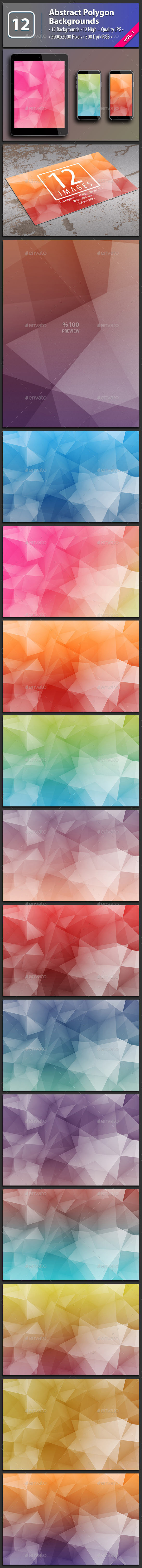 12 Abstract Polygon Backgrounds Vol.1 - Abstract Backgrounds