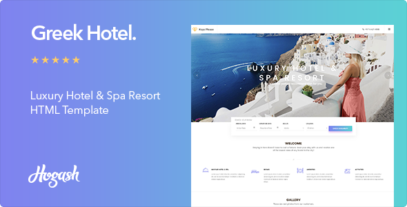 Image of Greek Hotel - Hotel HTML Template