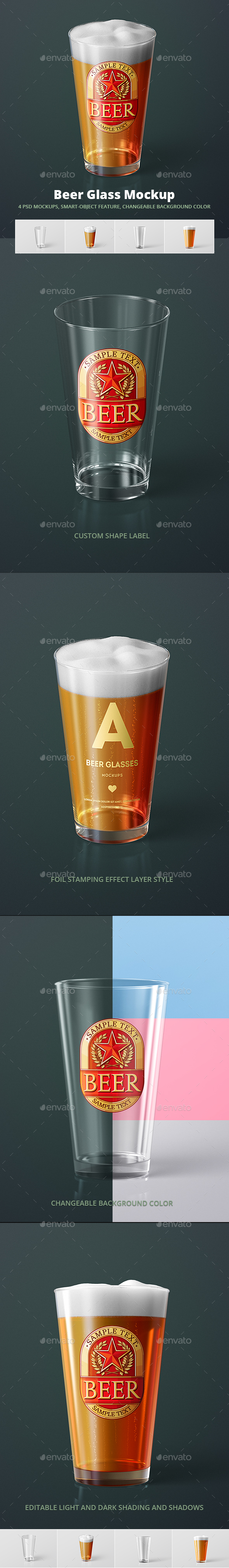 Beer Glass Mock-up - American Pint - Food and Drink Packaging
