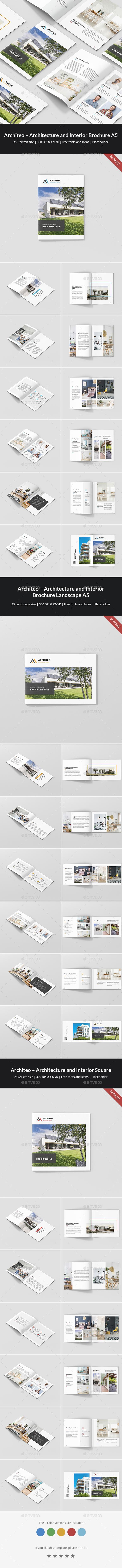 Architeo – Architecture and Interior Brochures Bundle Print Templates 3 in 1 - Portfolio Brochures