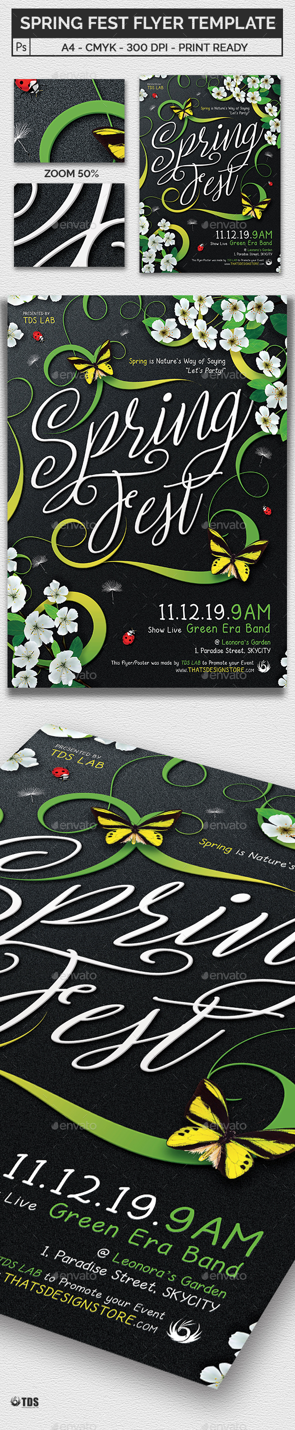 Spring Fest Flyer Template - Clubs & Parties Events