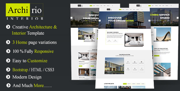 Archirio Interior HTML Template - Business Corporate