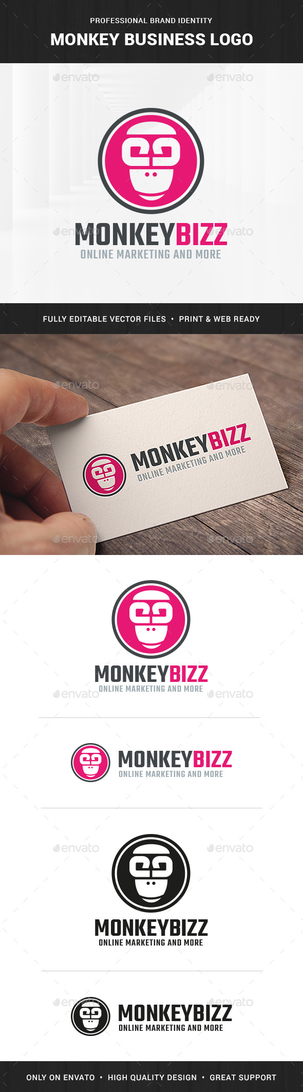 Monkey Business Logo Template - Animals Logo Templates