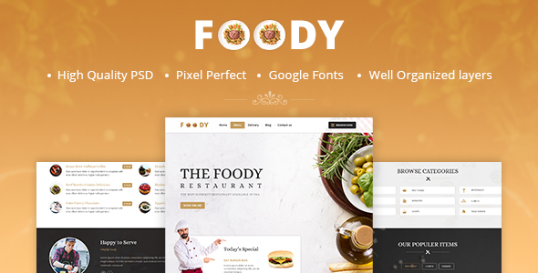 Foody – One Page Restaurant PSD Template
