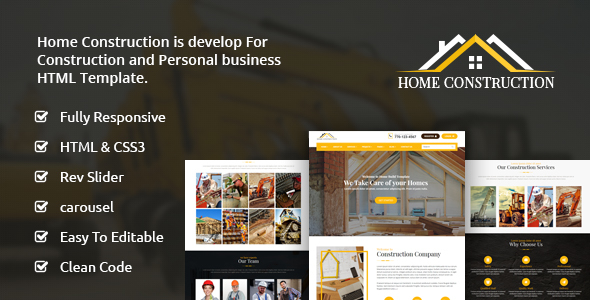 Home Construction – Construction Business HTML Template - Business Corporate