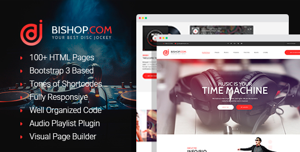 Image of Dj Bishop - Dj Personal Page HTML Template with Visual Builder