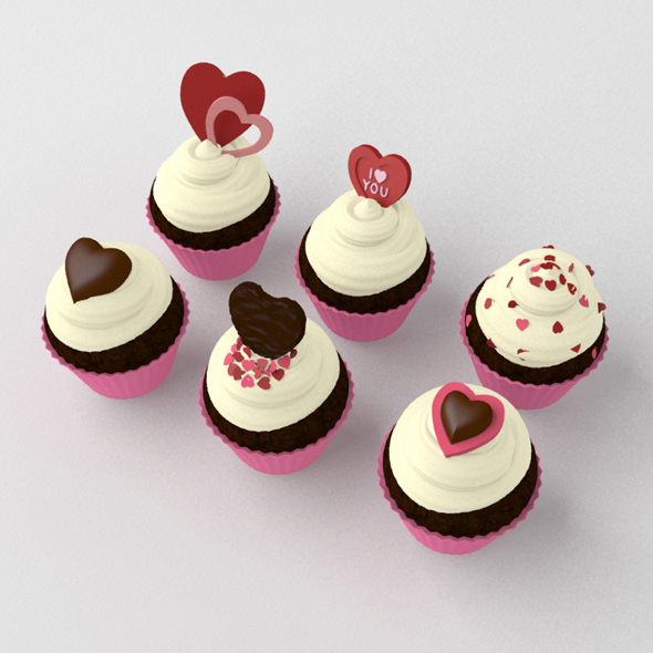 St Valentines Day Cupcakes - 3DOcean Item for Sale