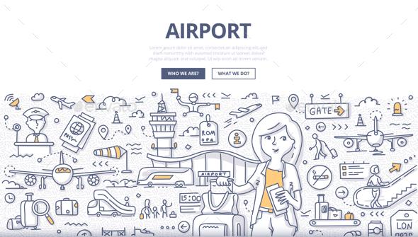 Airport Doodle Concept - Industries Business