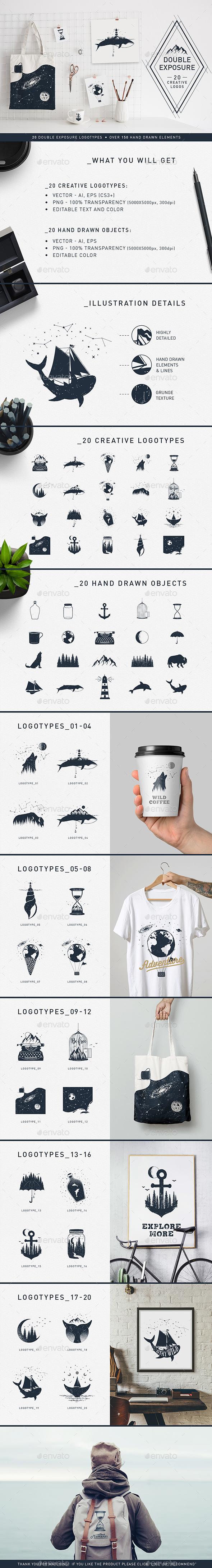 Double Exposure. 20 Creative Logos - Vectors