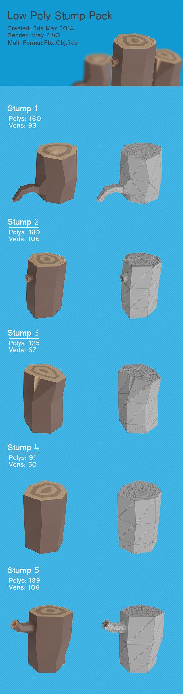 Low-Poly Stump Pack - 3DOcean Item for Sale
