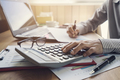 Businessman working on Desk office business financial accounting calculate - PhotoDune Item for Sale
