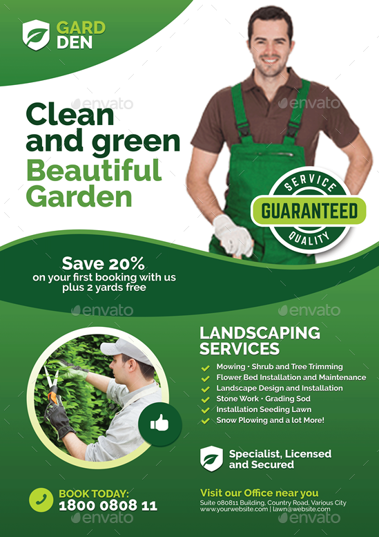 landscaping and lawn care flyer by artchery