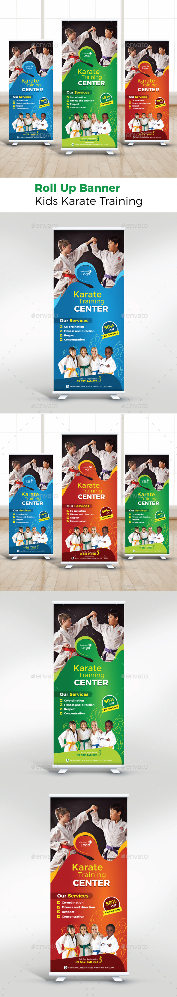 Kids Karate Training Roll Up Banner - Signage Print Templates