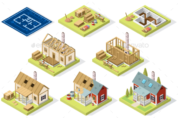 Cement and Brick Wall Isometric Building - Vectors