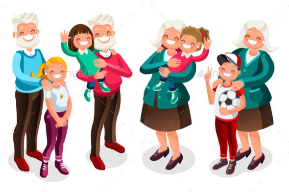 Grandpa and Grandma with Children - Vectors