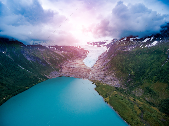 Svartisen Glacier in Norway Aerial view. - Stock Photo - Images