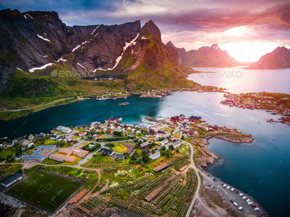 Lofoten archipelago islands aerial photography. - Stock Photo - Images