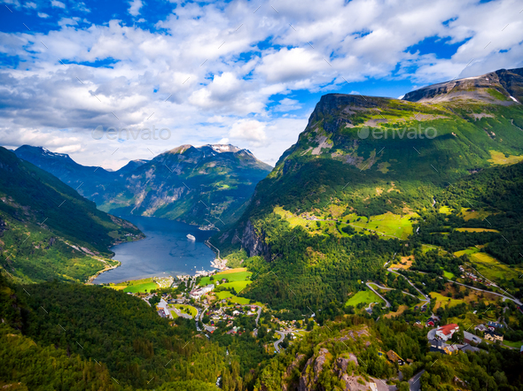 Geiranger fjord, Norway. - Stock Photo - Images