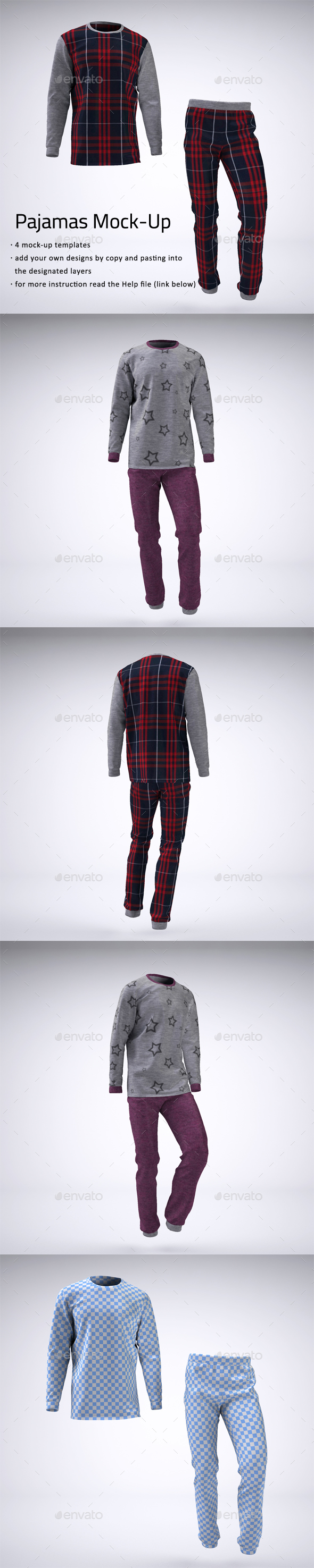 Pajamas or Pyjamas Mock-Up - Apparel Product Mock-Ups