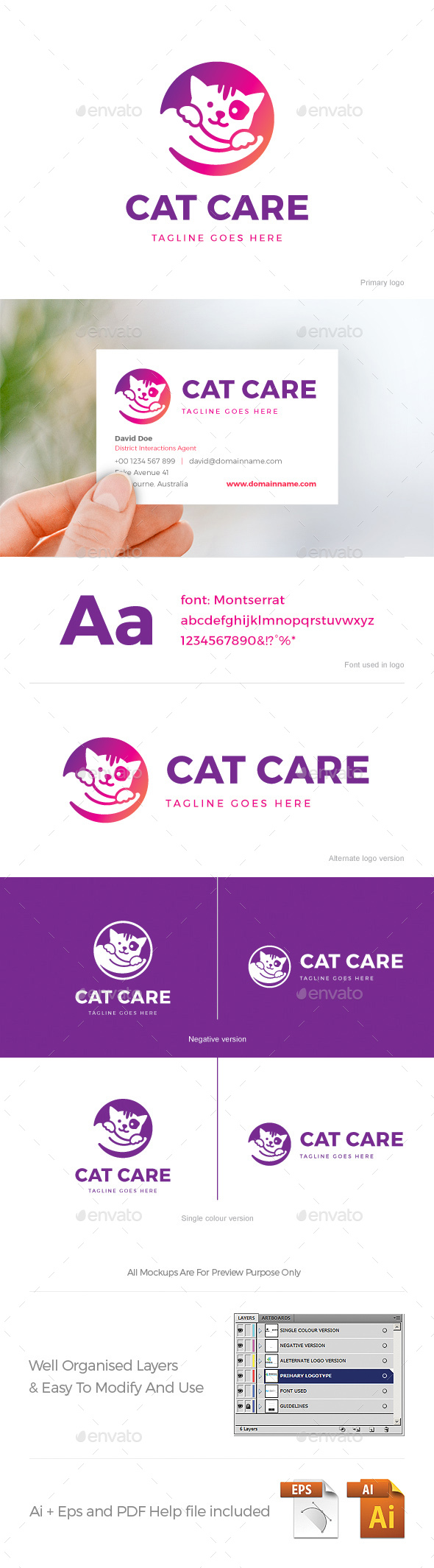 Cat Care Logo - Animals Logo Templates