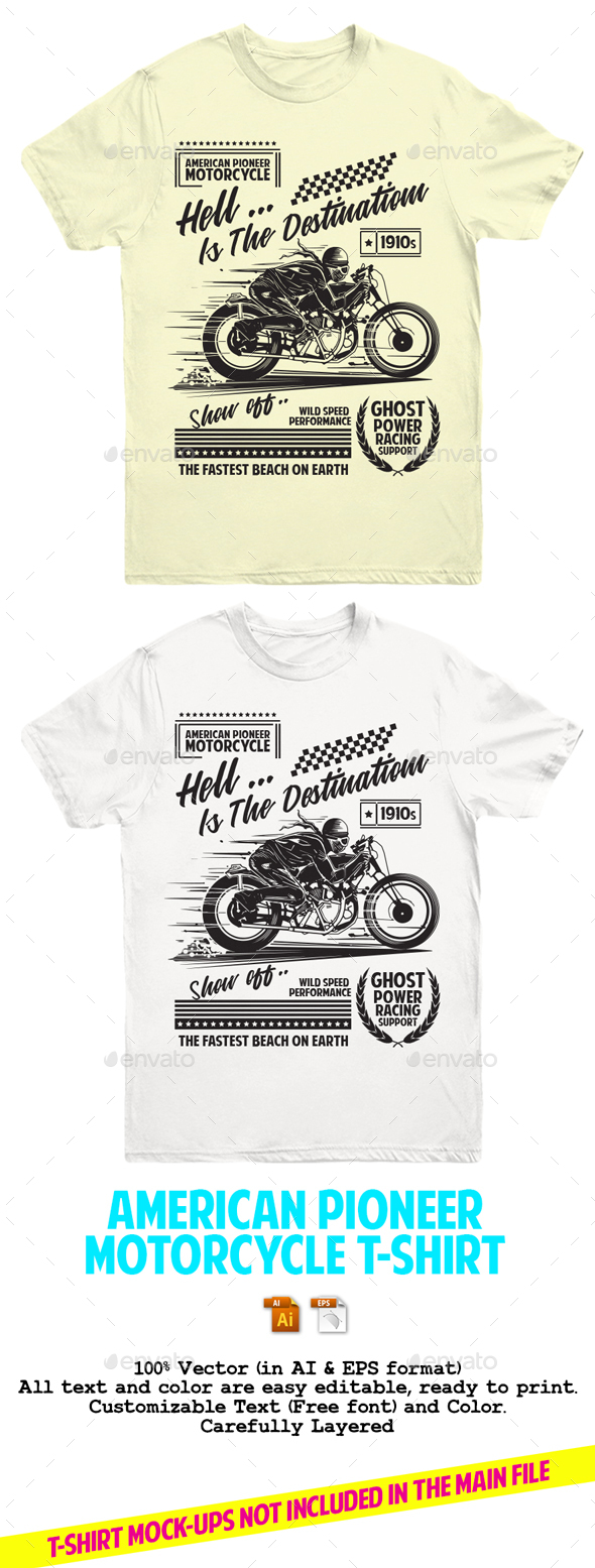 American Pioneer Motorcycle T-Shirt - T-Shirts