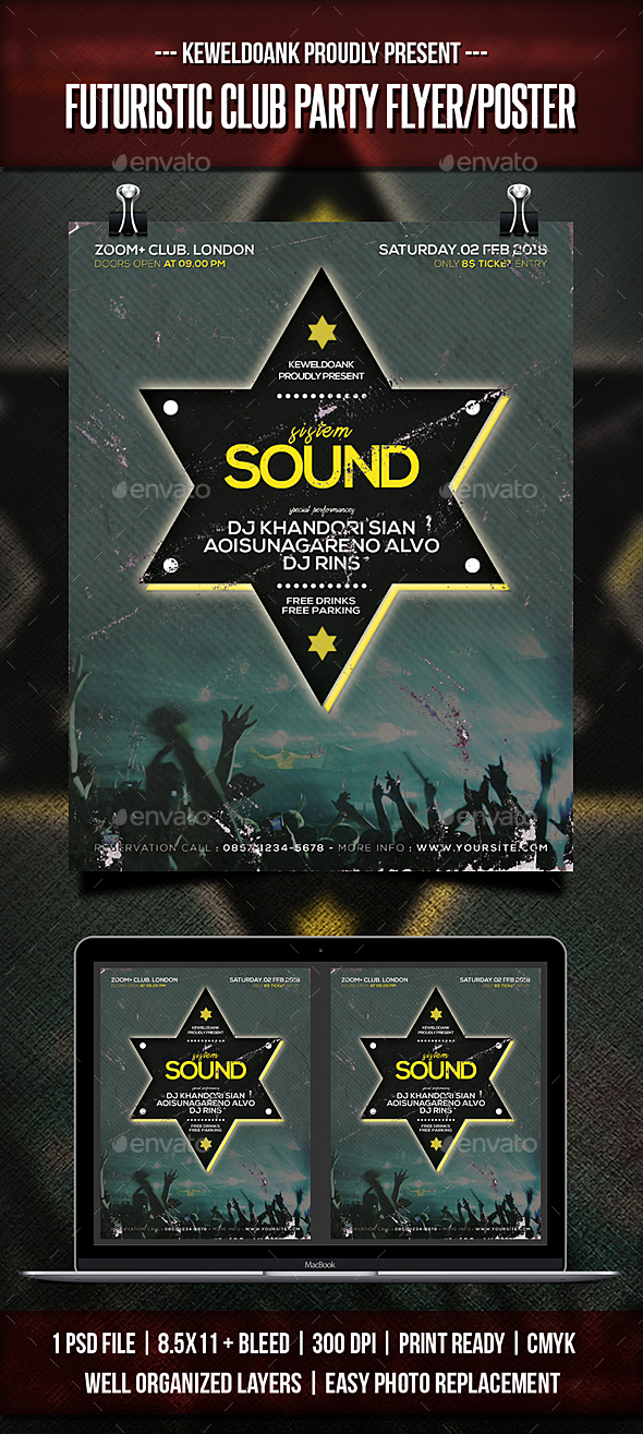 Futuristic Club Party Flyer / Poster - Clubs & Parties Events