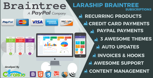 Laraship Braintree: Laravel 5.5 PayPal and Credit Card Subscriptions Platform with CMS and Admin - CodeCanyon Item for Sale