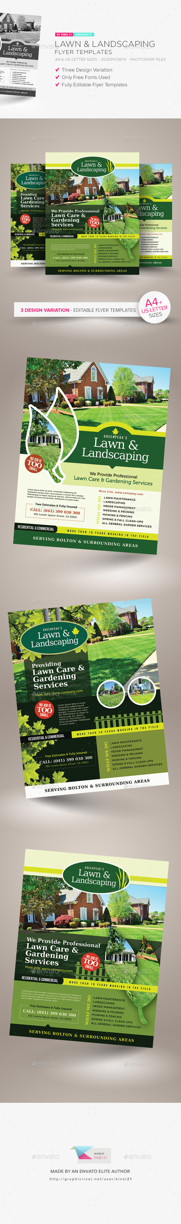 Lawn Landscaping Flyer Templates By Kinzishots GraphicRiver - Landscaping flyer templates